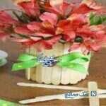 ساخت کاردستی گلدان چوبی