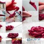 ساخت گل سینه بسیار ساده با پارچه + تصویر