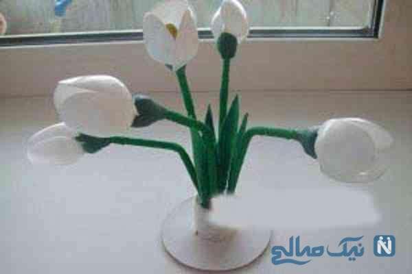 آموزش درست کردن گل با قاشق یکبار مصرف بسیار ساده +تصاویر