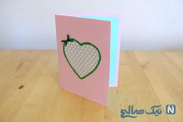 آموزش ساخت کاردستی کارت قلبی زیبا و آسان با تار و پود +تصاویر