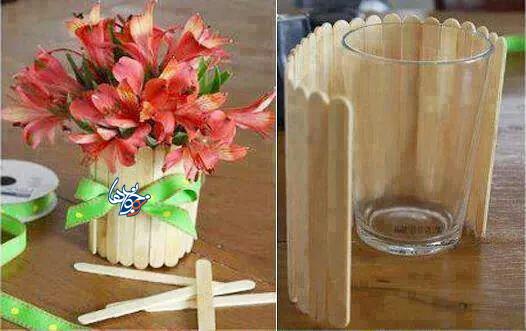 ساخت کاردستی گلدان چوبی + تصاویر