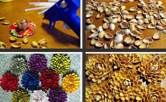 ساخت کاردستی گل سینه با پوست پسته + تصاویر