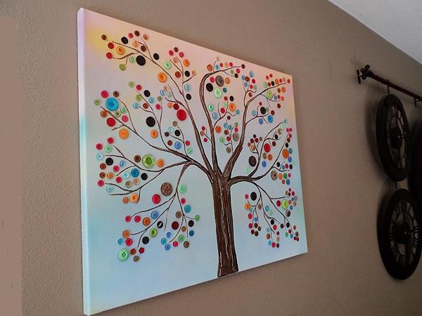 ساخت کاردستی درخت دکمه روی بوم + تصاویر