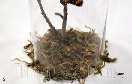 ساخت کاردستی شیشه تزیینی چوب و پروانه + تصاویر