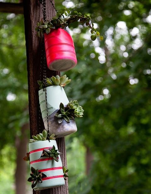 ساخت کاردستی گلدان های آویز با بطری های پلاستیکی + تصاویر
