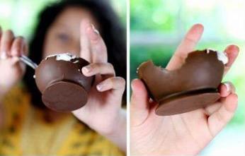 آموزش ساخت ظرف بستنی شکلاتی + تصاویر