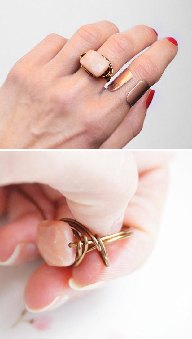 آموزش ساخت انگشتر سنگ دار دست ساز شیک و بسیار آسان +تصاویر