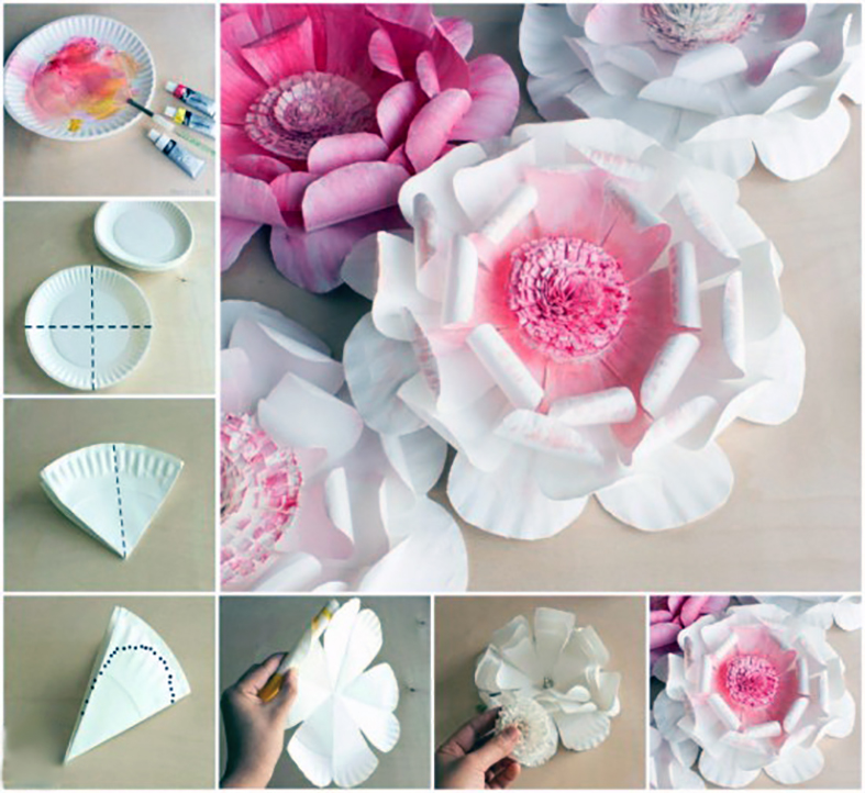 آموزش ساخت کاردستی گل نیلوفر بسیار زیبا با بشقاب یکبار مصرف تصاویر