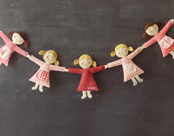 ساخت کاردستی ریسه زیبا با عروسک نمدی مخصوص اتاق کودک + تصاویر