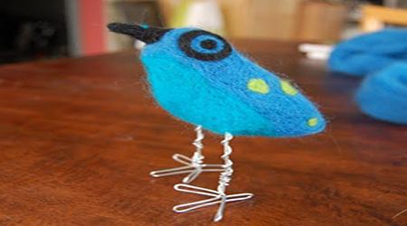 کاردستی پرنده آبی با الیاف