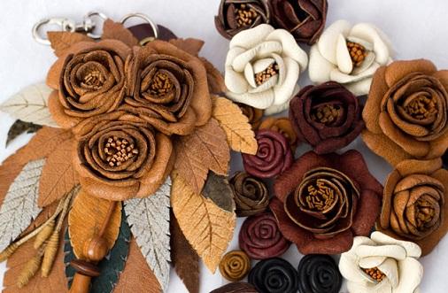 ساخت گل چرمی
