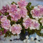 آموزش شکوفه روبانی دو رنگ برای تزیین وسایل منزل + تصاویر