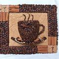 تابلو سه بعدی فنجان قهوه با دانه قهوه بسازید
