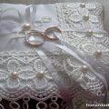 ساخت جا حلقه ای عروس و داماد با پارچه به شکل بالشتک
