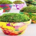 ساخت گلدان رنگین کمانی ساده و زیبا