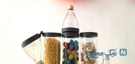ساخت ظرف حبوبات با بطری شیشه ای