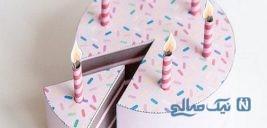 طریقه ساخت کیک تولد و شمع کاغذی
