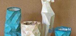 آموزش ساخت گلدان دکوراتیو با قالب کاغذی