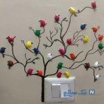 ساخت تابلو با پوست پسته به شکل پرندگان