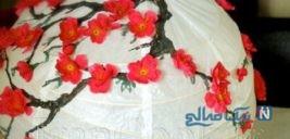ساخت کاردستی و تزیین لوستر کاغذی مدل شکوفه گیلاس + تصاویر