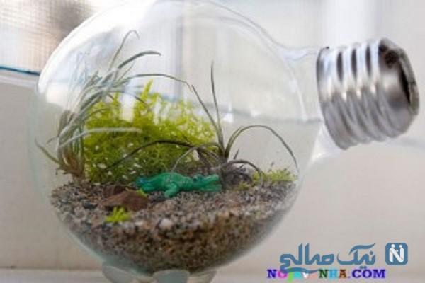ساخت کاردستی گلدان با لامپ سوخته + تصاویر