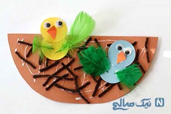 آموزش ساخت پرنده با لانه بسیار جذاب با کاغذ رنگی+ تصاویر
