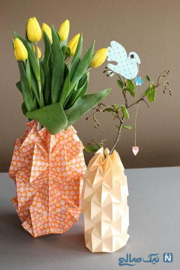 گلدان با اوریگامی