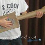 ساخت کاردستی ساده گیتار با جعبه دستمال کاغذی + تصاویر