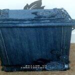 تزئین سطل آشغال با لباسهای کهنه+عکس