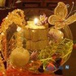 تزیین تنگ ماهی با شمع و تور + عکس
