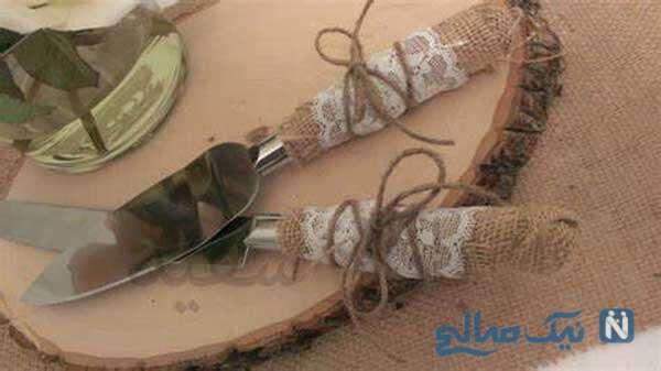 تزیین چاقوی کیک عروسی