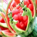 ایده ای جدید برای تزئین هندوانه شب یلدا ( هندوانه به شکل سبد میوه )