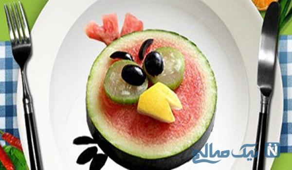 تزیین هندوانه به شکل پرندگان