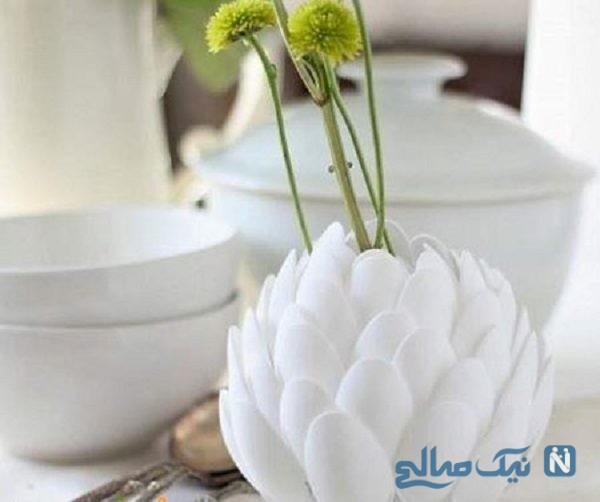 ساخت گلدان با قاشق یکبار مصرف