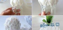 آموزش ساخت گلدان بسیار زیبا با قاشق یکبار مصرف+تصاویر