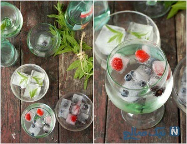 تزیین یخ با گل و میوه