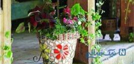 آموزش تزیین گلدان با سنگ های کوچک +تصاویر