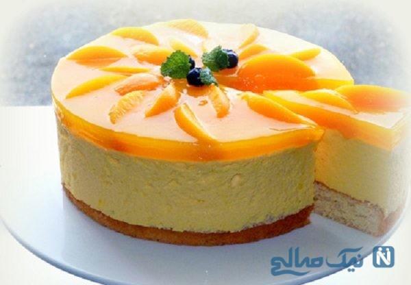 تزیین کیک اسفنجی با میوه و ژله + تصاویر