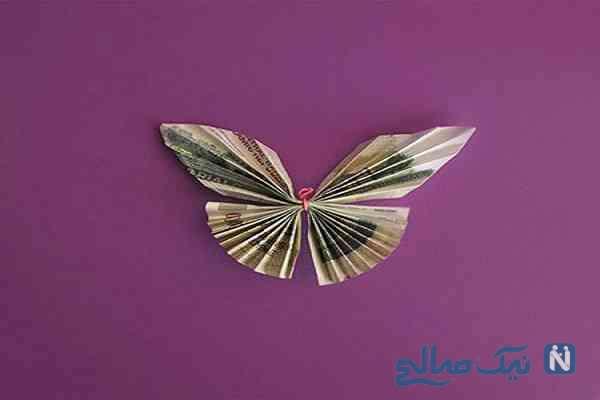 تزیین اسکناس عید غدیر به شکل پروانه +تصاویر
