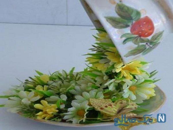 تزیین فنجان با گل