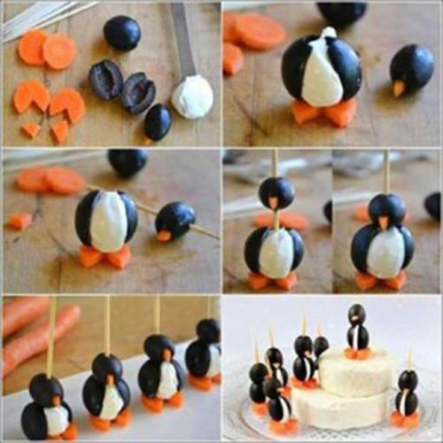 آموزش تصویری درست کردن پنیر بصورت پنگوئن