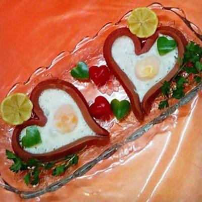 آموزش سوسیس تخم مرغ قلبی+تصاویر