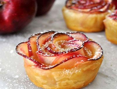 دسر سیب به شکل گل رز+تصاویر