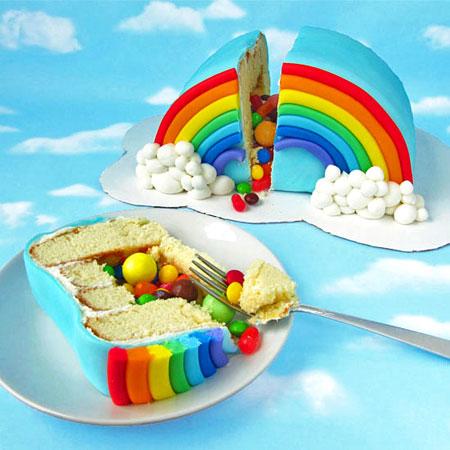 آموزش تزیین کیک رنگین کمانی+تصاویر