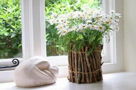 تزیین گلدان با شاخه های درخت+تصاویر