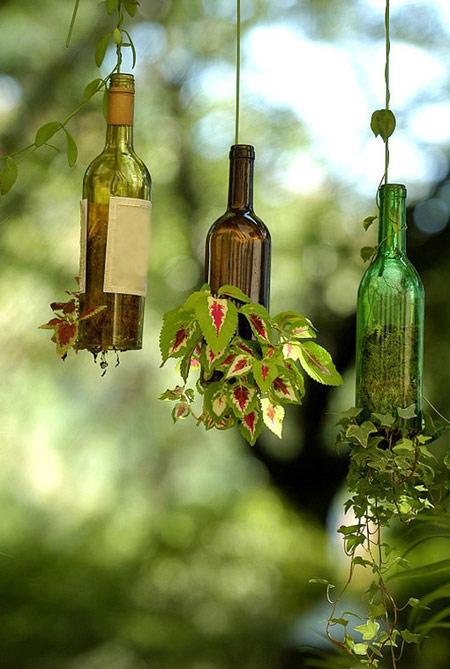 ساخت گلدان های معلق با بطری های قدیمی جالب وجذاب