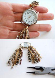 آموزش تزیین ساعت با زنجیر بسیارشیک و ساده تصاویر