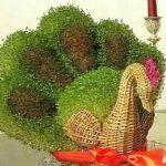آموزش کاشت سبزه عید به شکل طاووس