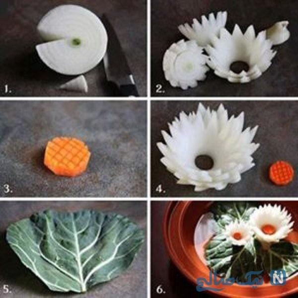 تزیین پیاز به شکل گل