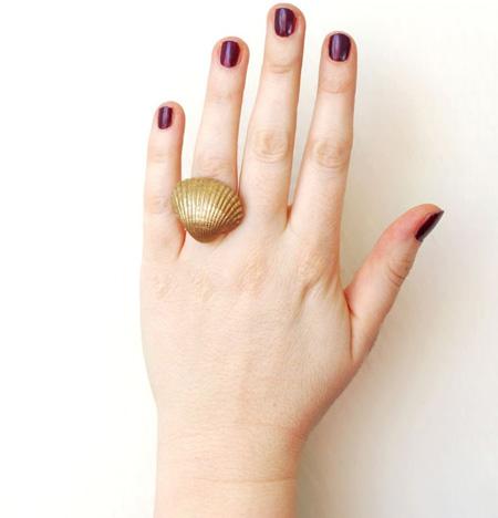 آموزش ساخت انگشتر صدفی طلایی+تصاویر